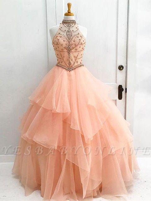 Beading High Neck Elegant Ball Gown Sleeveless Dresses Prom Evening Dresses