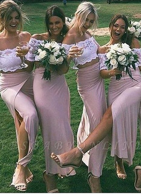 Side-Slit Lace Pink Sleeves Two-Piece Chic Short Bridesmaid Dresses