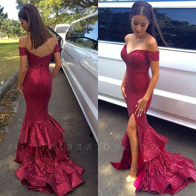 Sequins Side-Slit Off-the-Shoulder Fuchsia Ruffles Prom Dresses