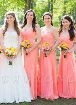 Strapless New-Arrival Ruched Floor-length Simple Bridesmaid Dresses