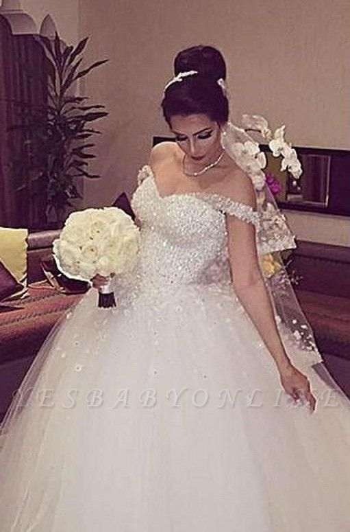 Stunning Off-the-shoulder Beading Appliques Lace-up Princess Ball Gown Wedding Dress