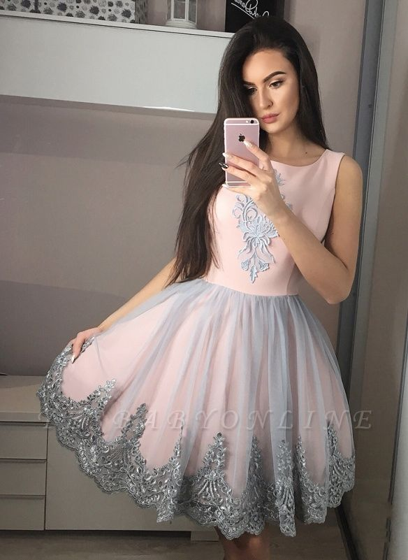 Cute A-Line Short Homecoming Dress  Round Neck Knee Length Prom Dresses with Appliques