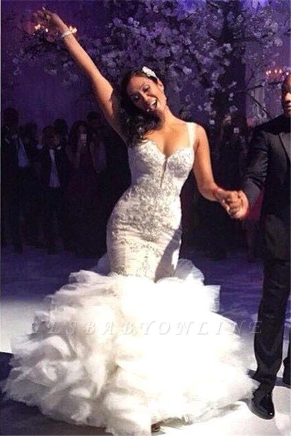 Luxurious Crystal Spaghetti-Straps Ruffles Tulle Mermaid Wedding Dress