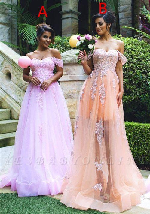 Off-the-shoulder Lace Appliques Gorgeous  Prom Dress