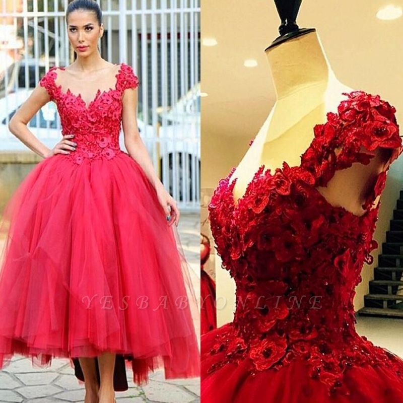 2019 Red Ball Gown Party Dresses 3D-Floral Appliques Hi-Lo Chic Prom Dresses