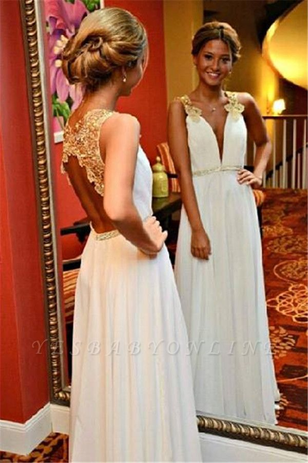 Beadings White V-Neck A-Line Open-Back Appliques Sleeveless Prom Dress