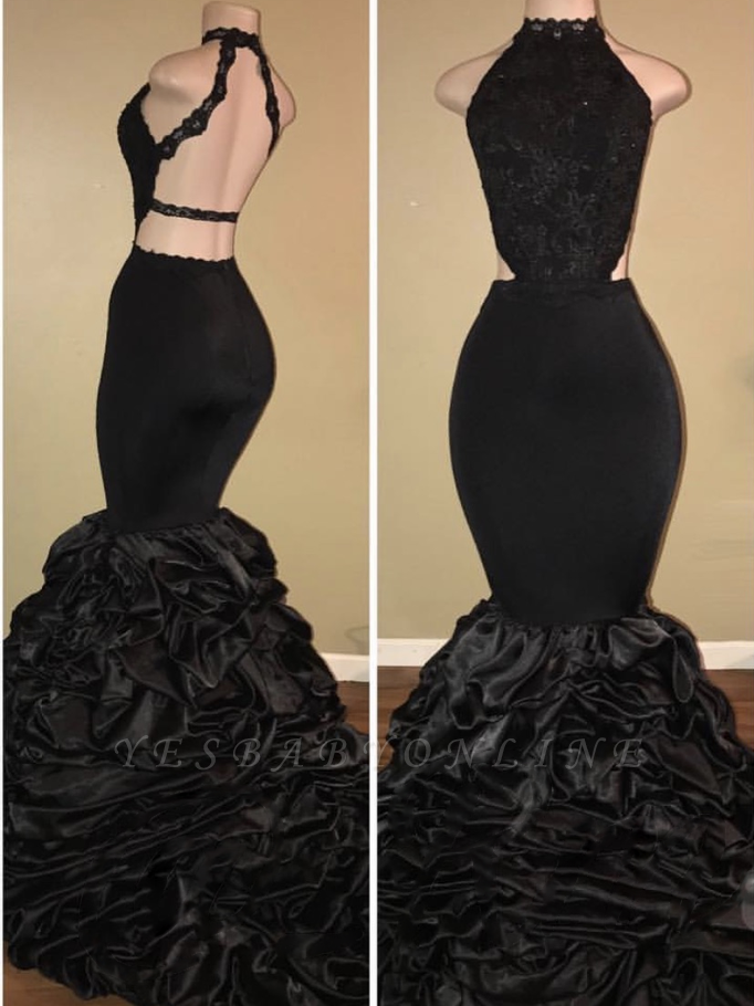 Amazing Black Mermaid Prom Dresses | Sexy Halter Evening Dresses with Pick-Up Skirt