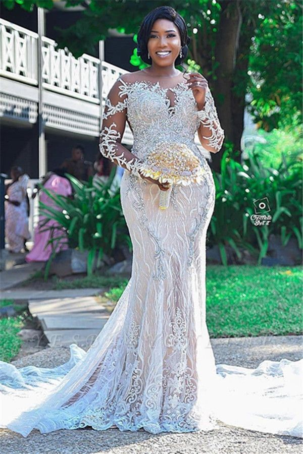 Jewel Sheer Long Sleeves Open Back Wedding Dresses with Lace Details