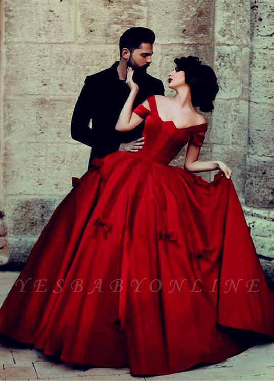 Gorgeous Satin Off-the-Shoulder Red Long Ball-Gown Evening Dresses