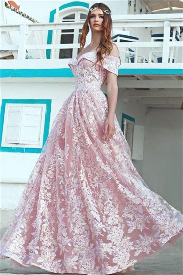 Elegant Pink Off Shoulder Evening Dresses Cheap | A-Line Lace Long Formal Dress