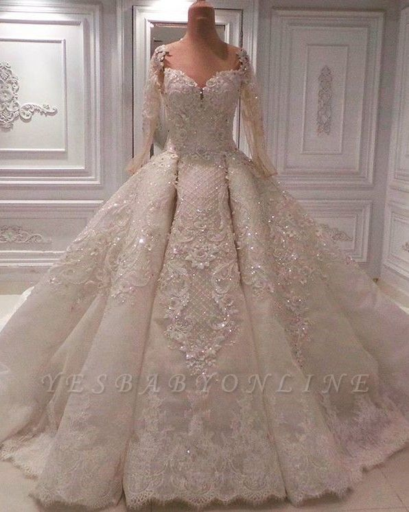 Round Neck Lace Crystal Princess Wedding Dresses with Long Sleeves