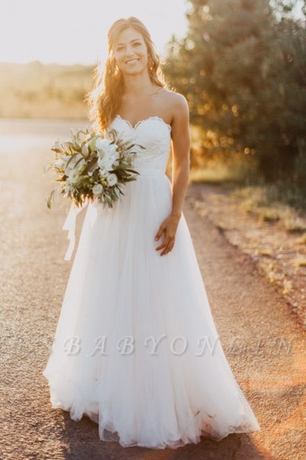Chic Sweetheart Wedding Dresses | A-Line Open Back Bridal Gowns