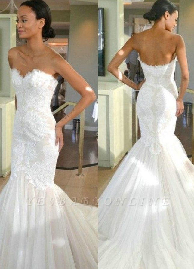 Sleeves Tulle Strapless Sweep-train Lace Mermaid Wedding Dress