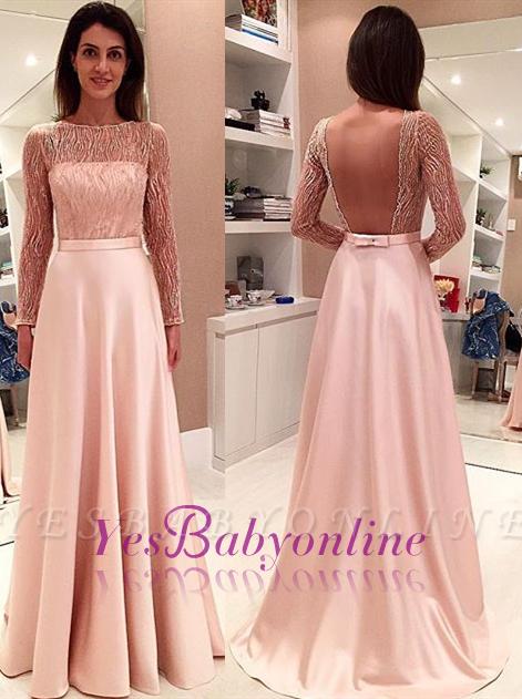 Glamorous Long-Sleeve Open-Back Bowknot Long Evening Dress
