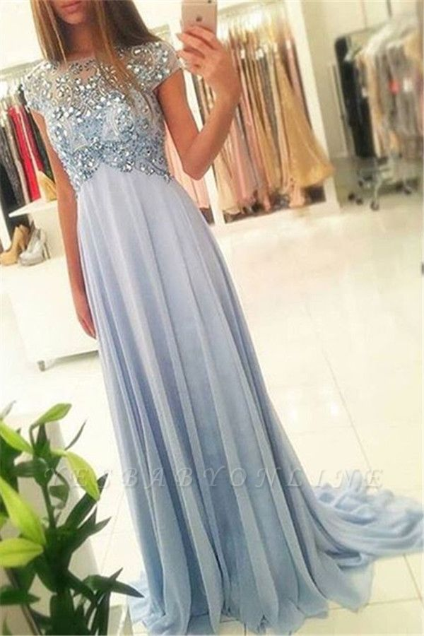 Cap-Sleeve Empired Long Sparkly Crystals Chiffon Blue Elegant Beading Prom Dresses