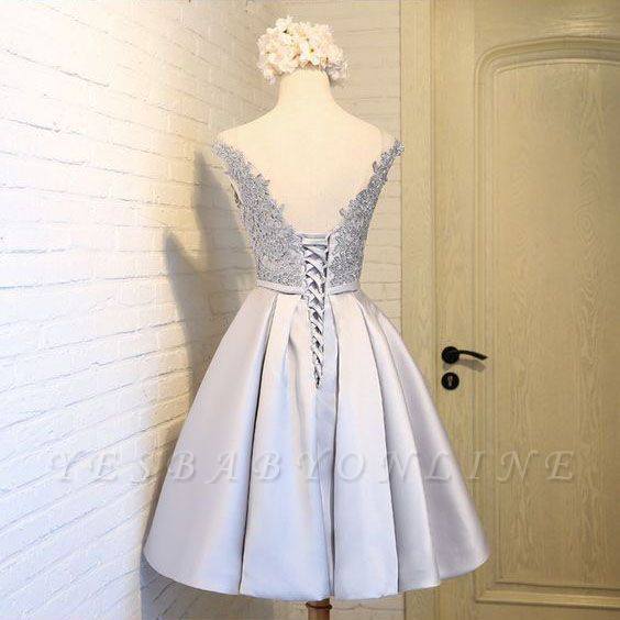Sliver Newest Dresses Homecoming Mini A-Line Scoop Sleeves Cap Lace Cocktail Dresses