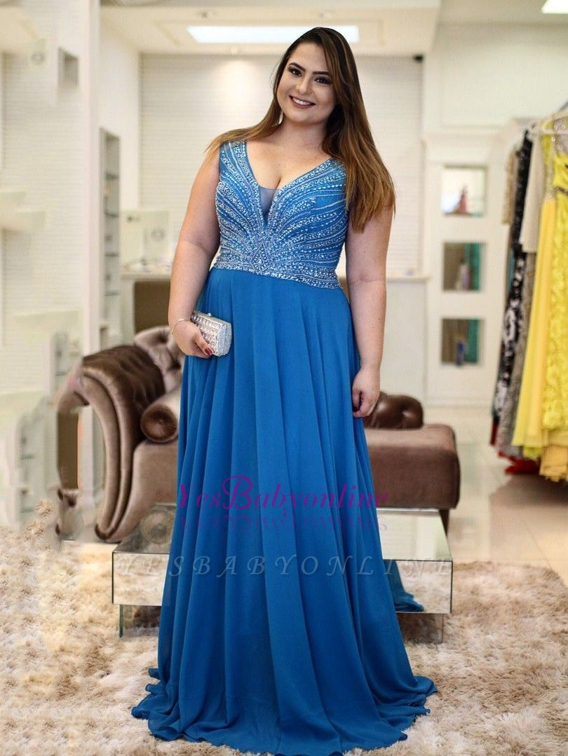 V-Neck Brilliant A-Line Plus-Size  Beading Prom Dresses