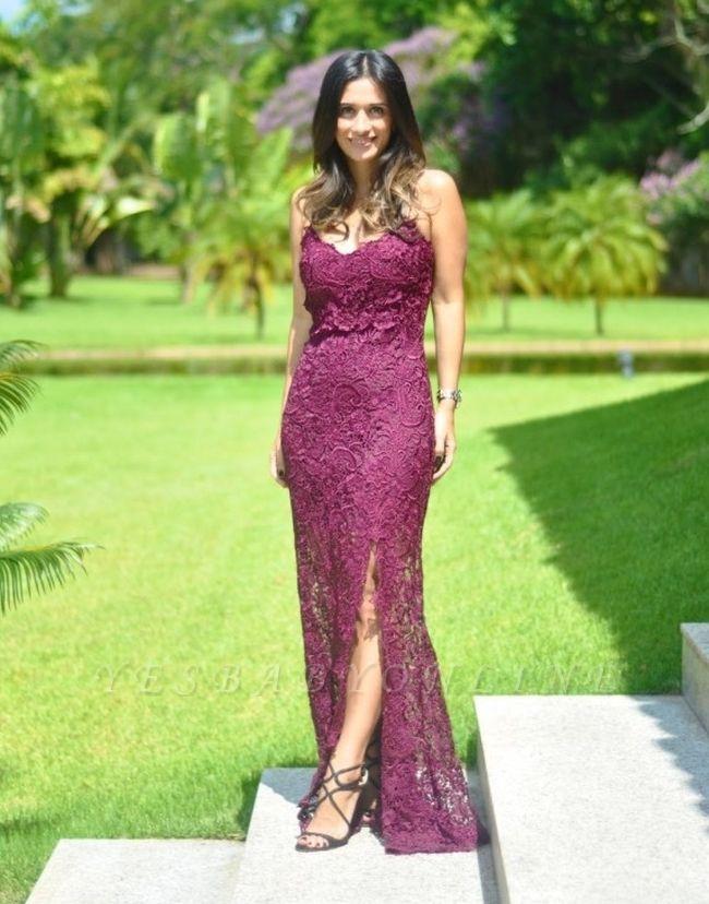 Sleeveless Long Elegant Split Spaghetti-Straps Full-Lace Prom Dress