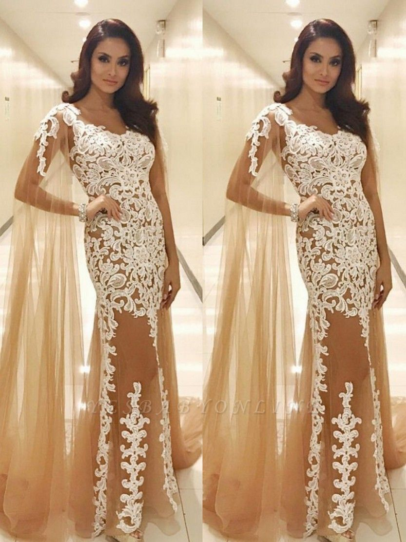 Long Lace Scoop Popular Prom Dresses