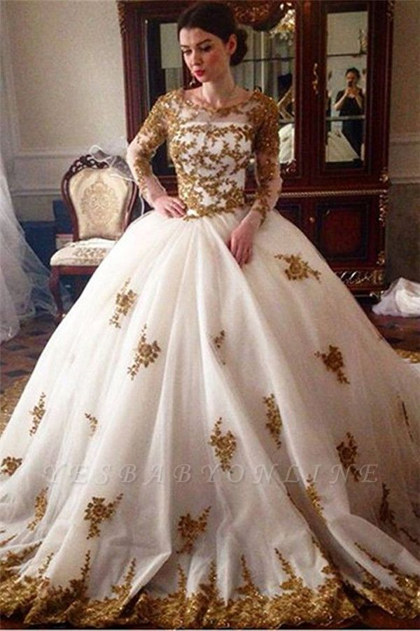 Glamorous Tulle Lace Appliques Wedding Puffys Long Sleeves Bridal Gowns