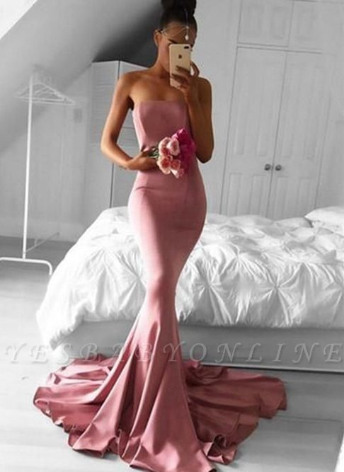 Sexy Mermaid Evening Dresses | Strapless Court Train Evening Gowns