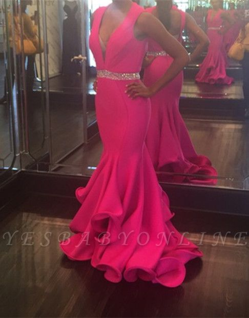 2019 Fuchsia Mermaid Prom Dresses Deep-V-Neck Sexy Evening Gowns with Ruffles Skirt
