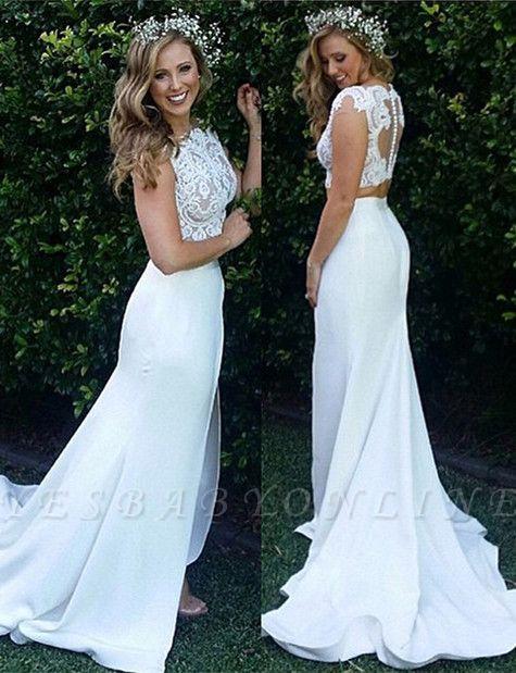 Zipper Modest Two-Piece Sweep-Train White Lace Mermaid Wedding Dress
