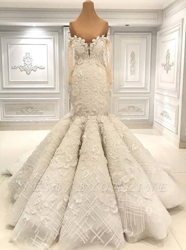 Off the Shoulder Fit and Flare Lace Wedding Dresses with Long Sleeves