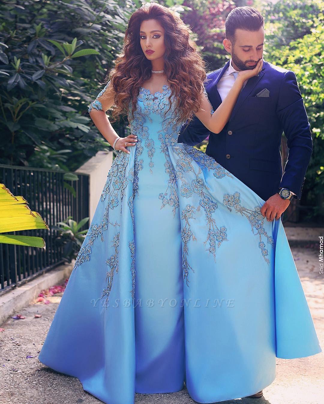 V-Neck A-Line Half-Sleeves Appliques Elegant Prom Dresses