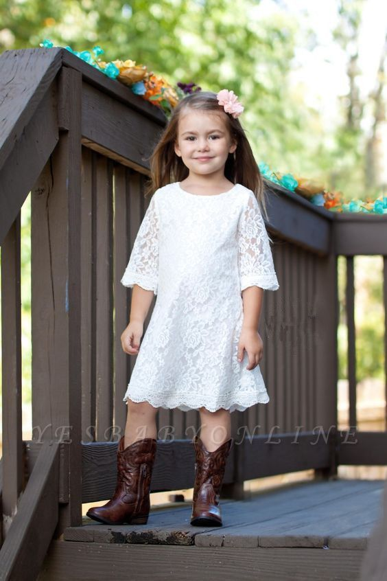 White Lace Knee-Length Cute Half-Sleeve A-line Flower-Girl Dress