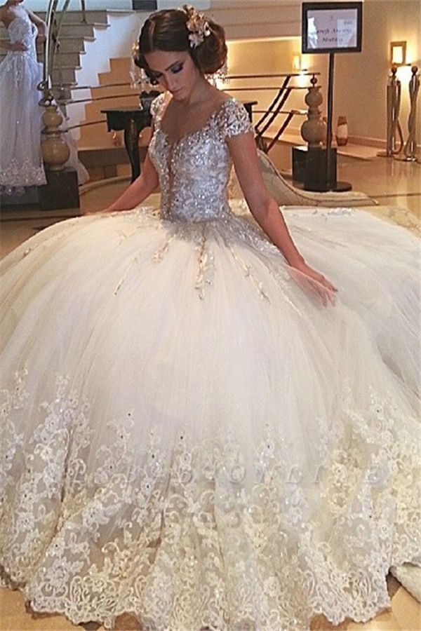 Ball Cap-Sleeves Gown Crystals Gorgeous Beaded Lace Tulle Wedding Gowns