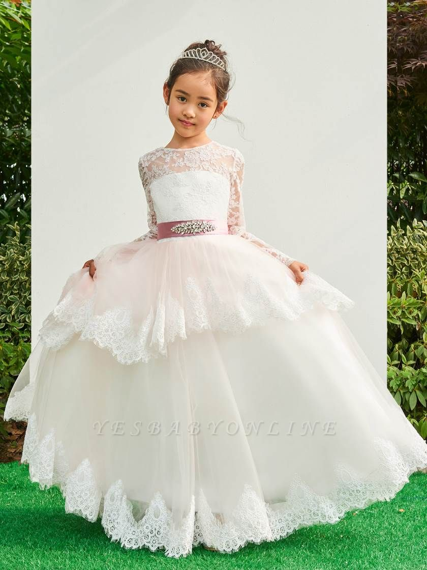 Lovely A-Line Tulle Lace Long Sleeves Flower Girl Dress with Bowknot
