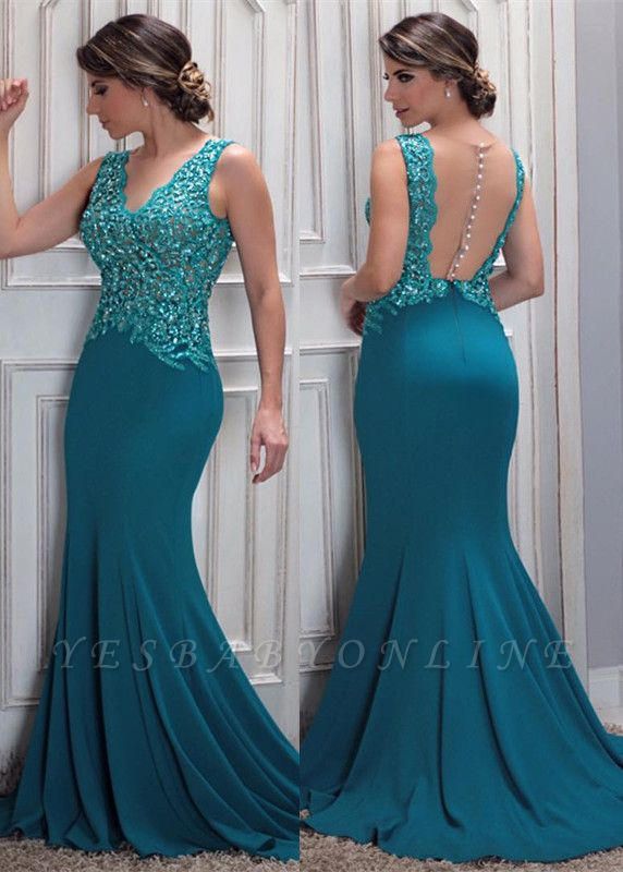 Mermaid Arrival Lace New Beaded V-Neck Prom Dress