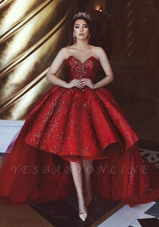 Glamorous  Hi-Lo Prom Gowns | 2019 Sequins Sweetheart  Evening Party Gowns