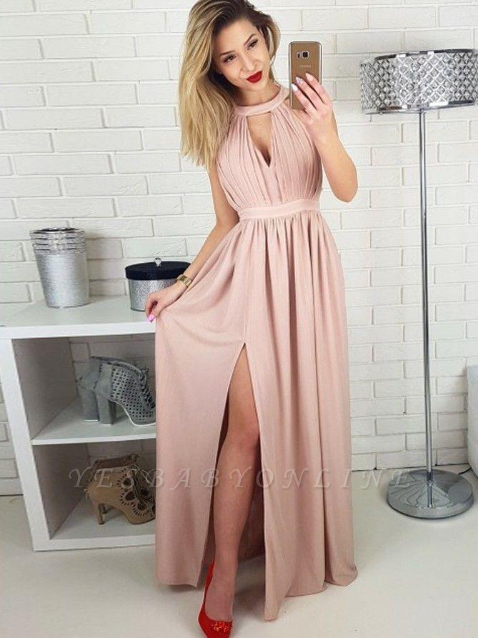 Chic Halter A-Line Evening Dresses   Side Slit Zipper Prom Dresses