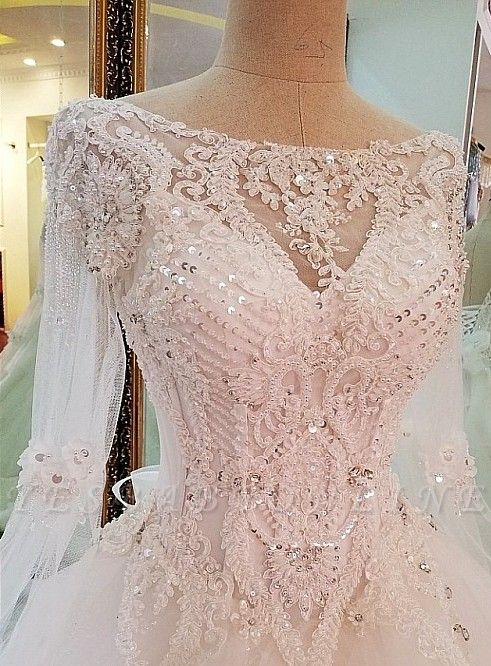 Long Sleevess Sequins A-line Lace Sweep Train Wedding Dress