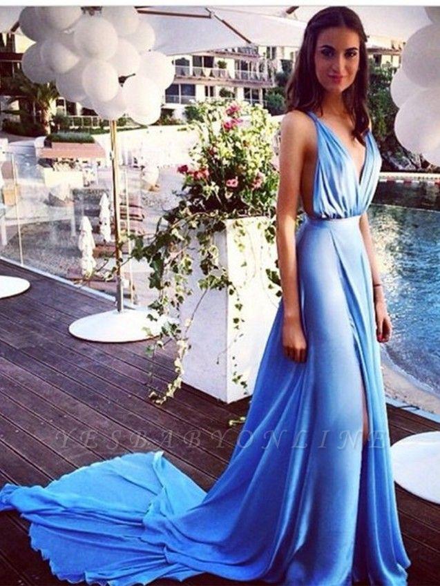 Sky Blue Deep V Neck Prom Dresses Side Split Backless  Summer Sexy Evening Gowns