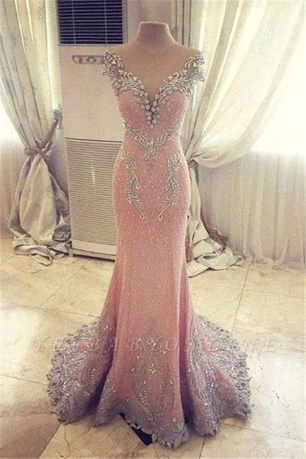 Luxury Pink Mermaid Prom Dresses V-Neck Crystals Evening Gowns