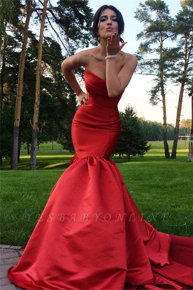 Mermaid Sweep-Train Sweetheart Red Sexy Zipper Evening Dress
