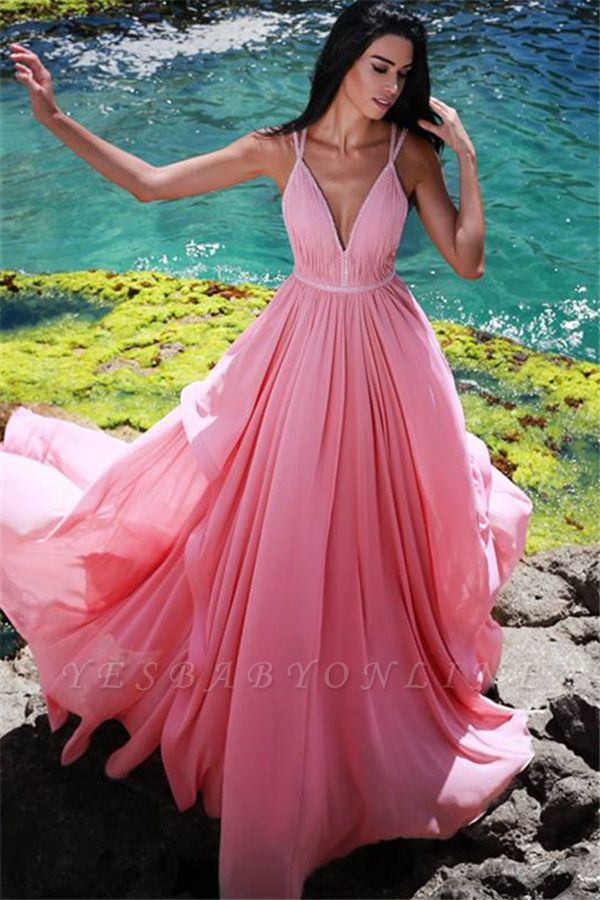 Pink V-Neck Chiffon Evening Dresses Cheap | Sleeveless Ruffles Long Evening Gowns