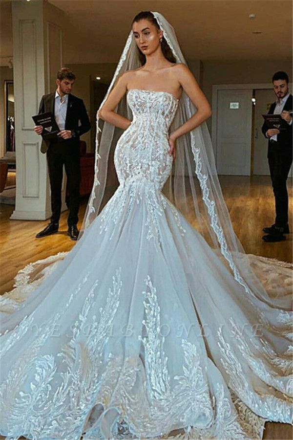 Strapless Sexy Lace Mermaid Wedding Dresses | Criss-cross Bridal Gowns