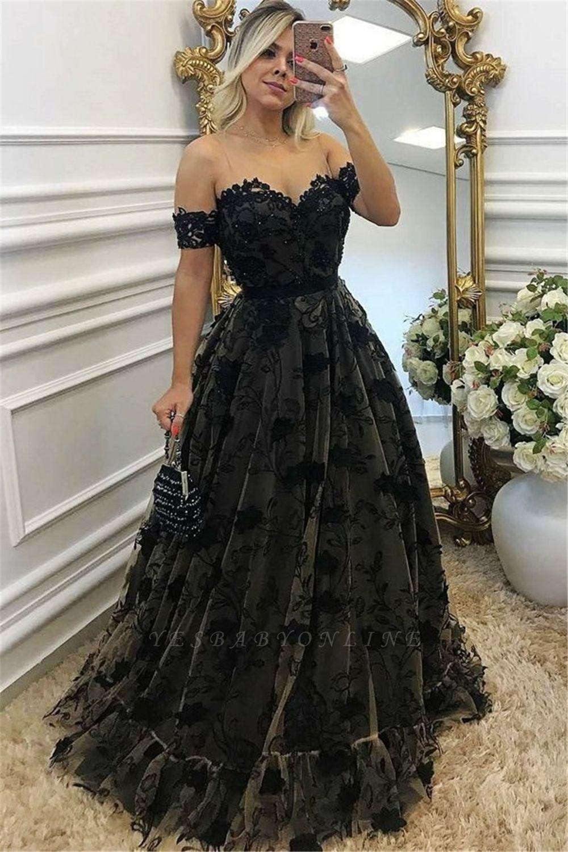 Black Off-the-shoulder A-line Prom Dresses | Lace Appliques Evening Gowns