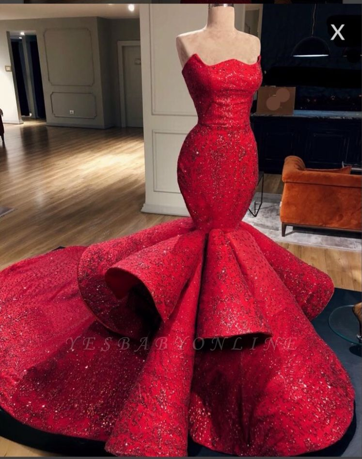 Gorgeous Mermaid Strapless Beadings Prom Dress with Court Train