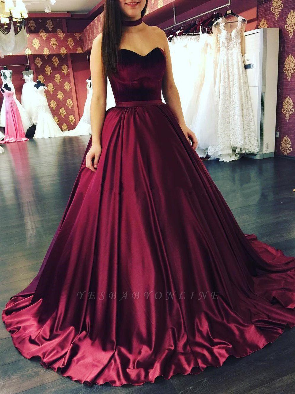 Elegant Sleeveless Sweetheart Sweep-Train Puffy Prom Dresses