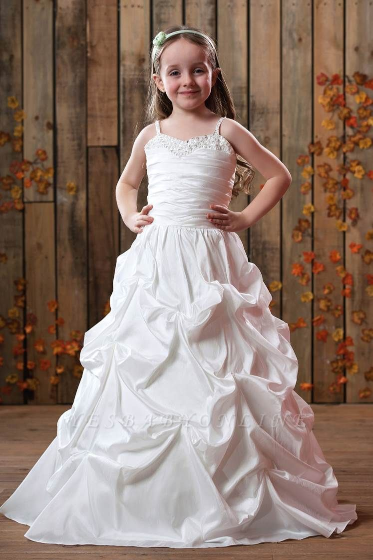 A-Line Taffeta Spaghetti Straps Ruffles Floor-Length Flower Girls Dress with Beading