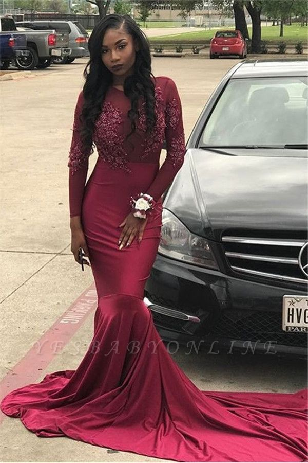 Sheer Appliques Burgundy Mermaid Long-Train Tulle Long-Sleeve Prom Dress