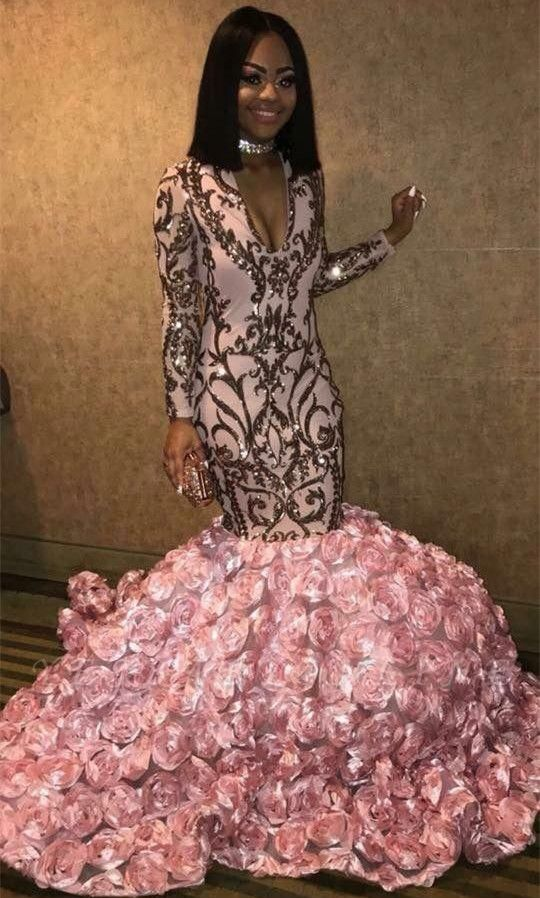 Sparkly V-neck Long Sleeves Pink Prom Dresses with Flowers Train |African Prom Dresses