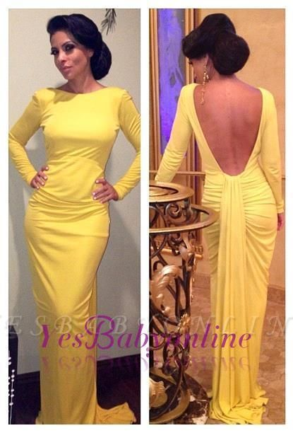 Long-Sleeve Sheath Ruched Open-Back Yellow Evening Dress