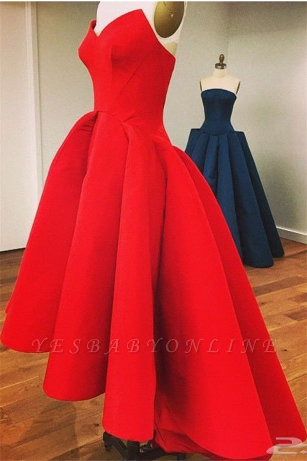 Red Hi-Lo Prom Dresses Sweetheart Neck Puffy Chic Party Dresses