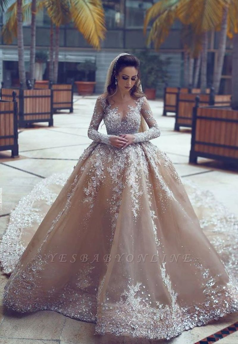 Luxury Ball Gown Wedding Dresses | Long Sleeves Beading Bridal Gowns